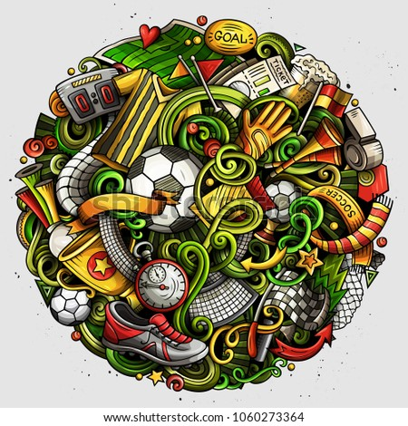 Cartoon vector doodles Football illustration. Colorful, detailed, with lots of objects background. All objects separate. Bright colors Soccer funny picture #1060273364