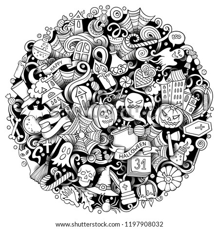 Cartoon vector doodles Happy Halloween illustration. Line art, detailed, with lots of objects background. All objects separate. Outline funny round picture