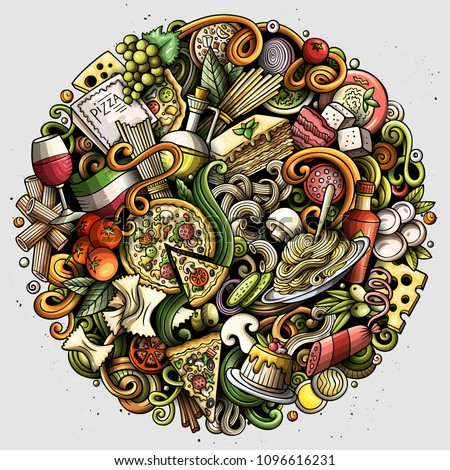 Cartoon vector doodles Italian Food round illustration. Colorful, detailed, with lots of objects background. All objects separate. Bright colors Italy cuisine funny picture #1096616231