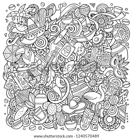 Cartoon vector doodles Latin America illustration. Detailed, with lots of objects background. All objects separate. Line art latinamerican funny picture