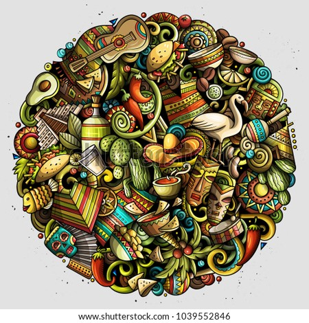 Cartoon vector doodles Latin America round illustration. Colorful, detailed, with lots of objects background. All objects separate. Bright colors latinamerican funny picture #1039552846