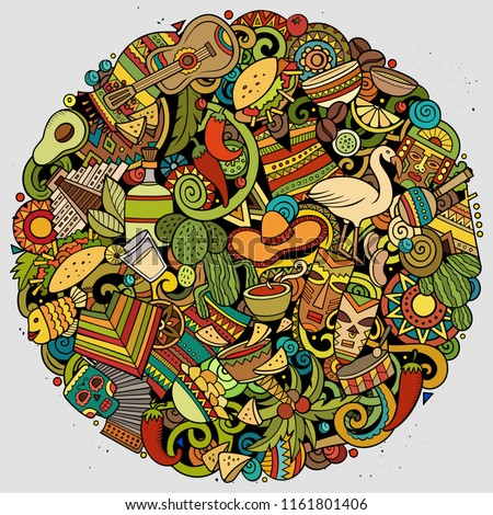 Cartoon vector doodles Latin America round illustration. Colorful, detailed, with lots of objects background. All objects separate. Bright colors latinamerican funny picture #1161801406