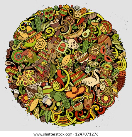 Cartoon vector doodles Latin America round illustration. Colorful, detailed, with lots of objects background. All objects separate. Bright colors latinamerican funny picture