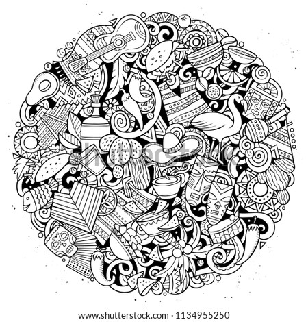 Cartoon vector doodles Latin America round illustration. Line art, detailed, with lots of objects background. All objects separate. Sketchy latinamerican funny picture #1134955250