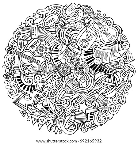 cartoon vector doodles music