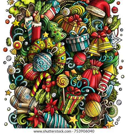 Cartoon vector doodles New Year illustration. Colorful, detailed, with lots of objects background. All objects separate. Bright colors Christmas funny picture