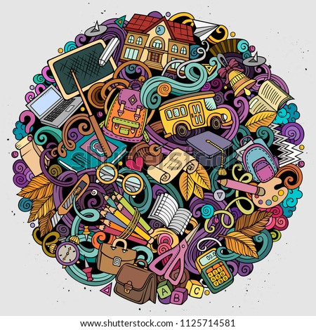 Cartoon vector doodles School illustration. Colorful, detailed, with lots of objects background. All objects separate. Bright colors education funny picture #1125714581