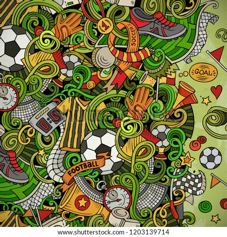 Cartoon vector doodles Soccer frame. Colorful, detailed, with lots of objects background. All objects separate. Bright colors football funny border #1203139714