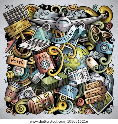 Cartoon vector doodles Travel illustration. Colorful, detailed, with lots of objects background. All objects separate. Bright colors traveling funny round picture #1080815216