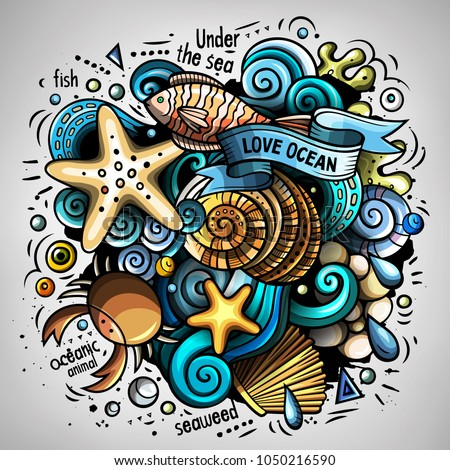 Cartoon vector doodles Underwater world illustration. Colorful, detailed, with lots of objects background. All objects separate. Bright colors sea life funny picture #1050216590