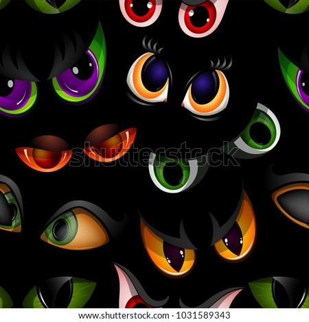Cartoon vector eyes beast devil monster animals eyeballs of angry or scary expressions evil eyebrow and eyelashes on face scared snake or dracula vampire animal eyesight seamless pattern background