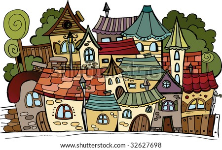 Cartoon vector fairy tale drawing town.