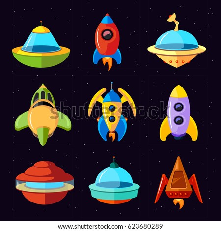 cartoon vector fantastic ufo