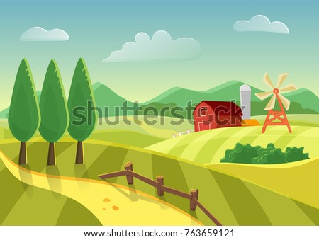 Cartoon vector farm landscape field with farmers building, large field farming striped. Farm flat landscape.