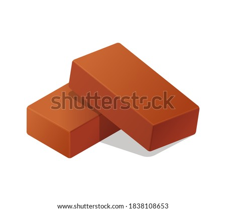 Cartoon vector flat illustration red brick icon illustration isolated on white. 3d isometric vector red bricks icon for logo template, infographics and design games. Realistic vector orange brick.