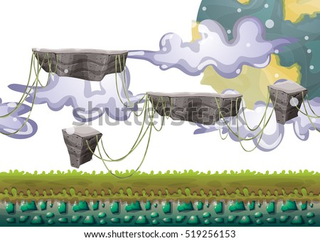 cartoon vector floating island