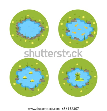 cartoon vector garden pond