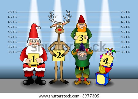 cartoon vector graphic depicting Santa and friends in a police line-up