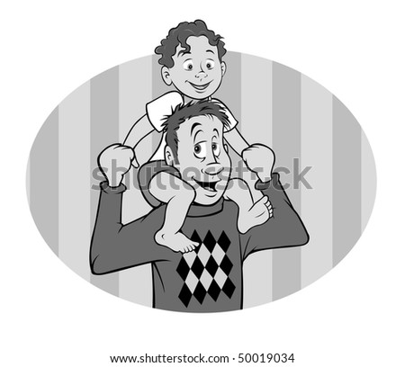 cartoon vector gray scale illustration father son