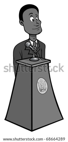 cartoon vector gray scale illustration of a black President