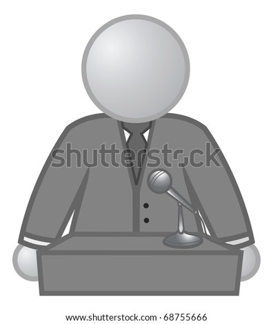 cartoon vector gray scale illustration of a speaker