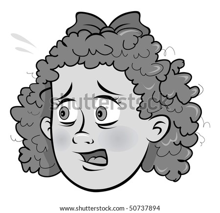 cartoon vector gray scale illustration scared girl