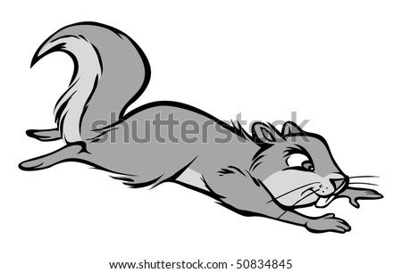 cartoon vector gray scale illustration squirrel leaping