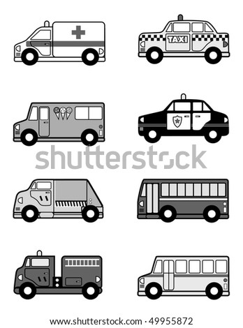 cartoon vector gray scale illustration toy vehicles