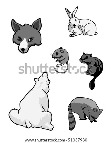 cartoon vector gray scale illustration zoo mammals - stock vector