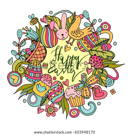 Cartoon vector hand drawn Doodle Happy Easter illustration. Line art detailed design background with objects and symbols. All objects are separated