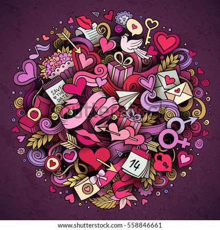 Cartoon vector hand drawn Doodle Love illustration. Colorful detailed design background with objects and symbols. All objects are separated