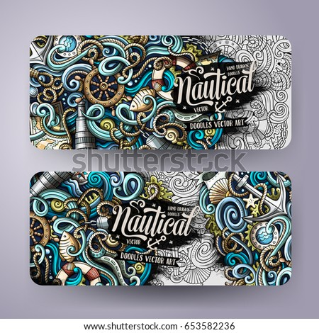 Cartoon vector hand-drawn nautical doodle corporate identity. 2 Horizontal banners design. Templates set