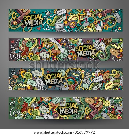 Cartoon vector hand-drawn social media, internet doodles. Horizontal banners design templates set