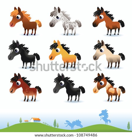 cartoon vector horses isolated