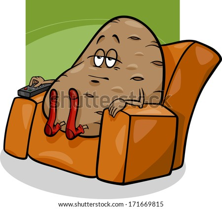 Cartoon Vector Humor Concept Illustration of Couch Potato Saying or Proverb Сток-фото ©