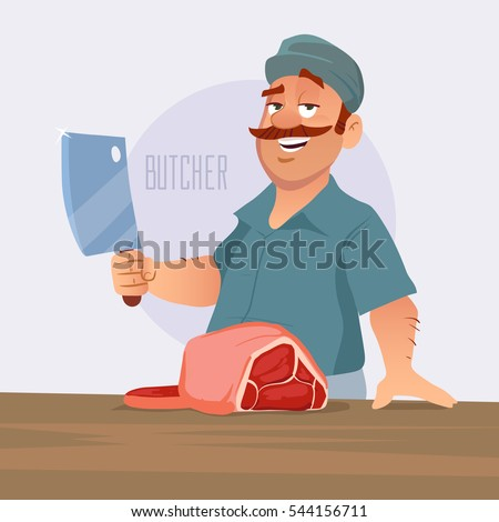 cartoon vector illustration, butcher cut the meat, butcher shop, cartoon character