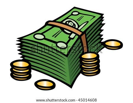 cartoon vector illustration cash coins