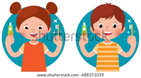 Cartoon vector illustration children girl and boy holding in his #688351039
