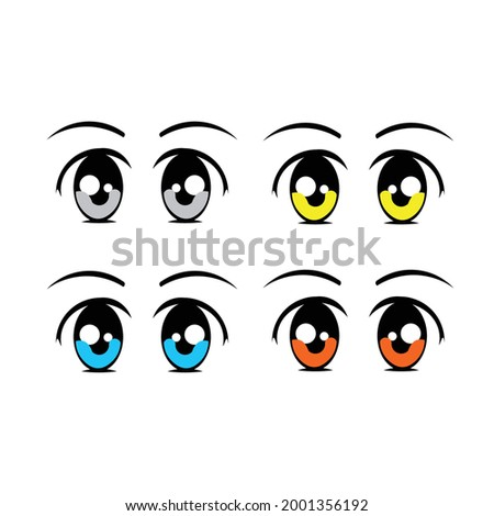cartoon vector illustration eyes collection.eyes red,eyes blue,eyes black,eyes green.eyes purple,eyes orange