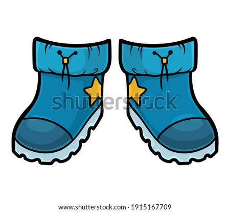 Cartoon vector illustration for children, Waterproof snow boots Photo stock ©