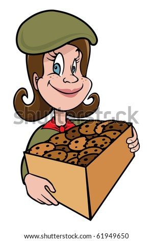 cartoon vector illustration girl scout cookies