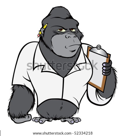 cartoon vector illustration gorilla lab suit - stock vector