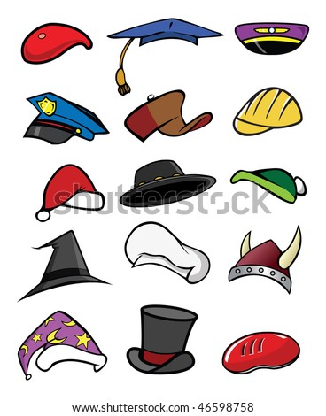 cartoon vector illustration hats caps collection