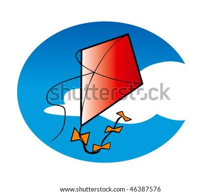 cartoon vector illustration kite flying sky