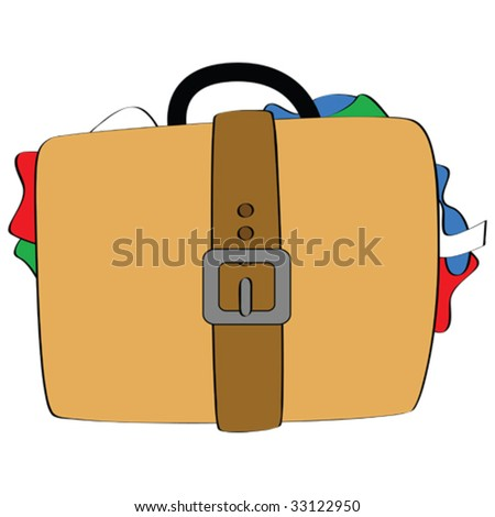 Cartoon vector illustration of a bulging suitcase, with pieces of clothing showing from the sides