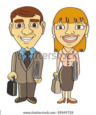 cartoon vector illustration of a businessman and businesswoman frontal