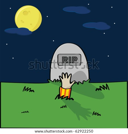 Cartoon vector illustration of a cemetery with a hand coming out of the ground in front of a tombstone