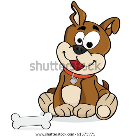 Cartoon vector illustration of a cute dog sitting down in front of a bone