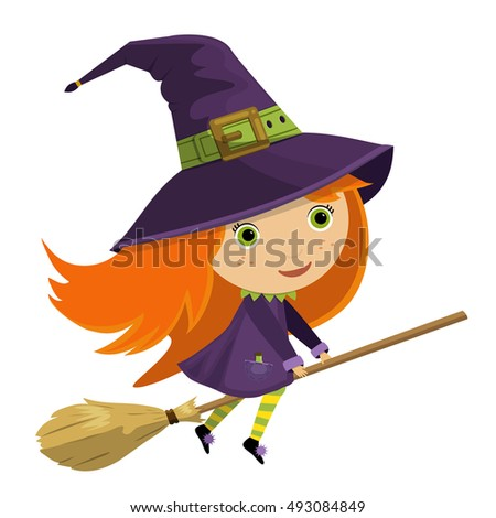 Cartoon vector illustration of a cute little witch riding broomstick for Halloween holiday