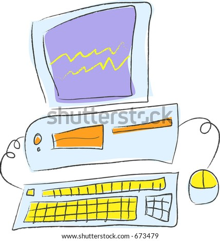 Ilustração do vetor do cartoon de um PC do desktop
